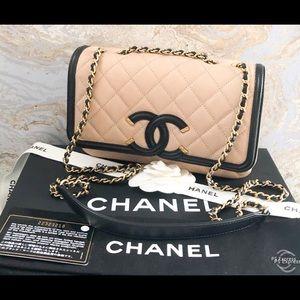Chanel Caviar CC Filigree Flap Leather Bag
